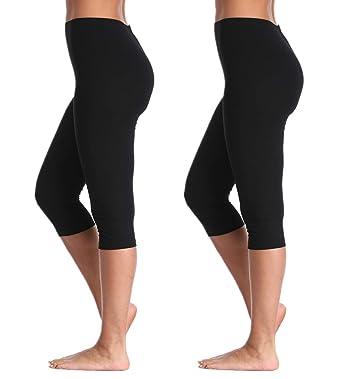 a572fec345 A-Wintage Womens High Waisted Ultra Soft Capri Leggings Yoga Pants -  Regular Plus
