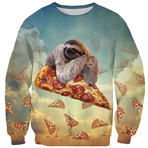 Girls Ugly Christmas Sweaters Pullover Animal Graphic Cute Sloth Pizza White Cloud Long Sleeve O Neck Baggy Cool Jacket Sweatshirts Clothes for Dad Mens Women Xmas Party Small Size S for $<!--$21.99-->
