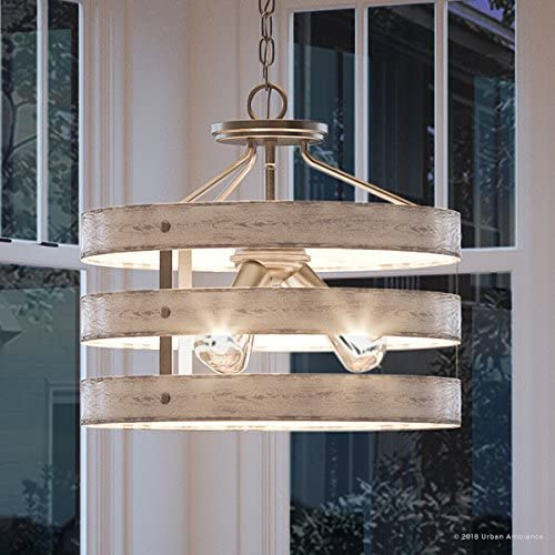 Luxury Modern Farmhouse Ceiling Pendant Light, Medium Size 13.5 H x 17 W, with Rustic Style Elements, Galvanized Steel Finish, UHP2471 from The Adelaide Collection by Urban Ambiance