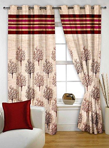 Story@Home Berry Premium Jacquard 1 Piece Window Contemporary Eyelet Curtain, 5 feet, Maroon