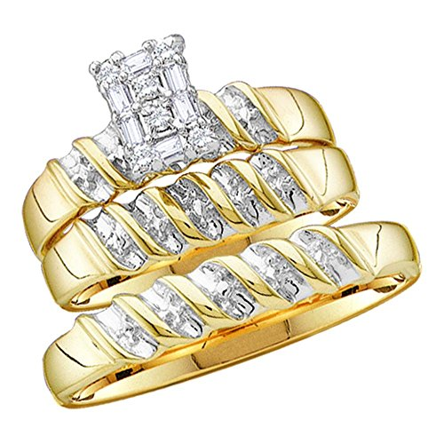 - Sizes - L = 7, M = 10 - 10k Yellow and White 2 Two Tone Gold Mens and Ladies Couple His & Hers Trio 3 Three Ring Bridal Matching Engagement Wedding Ring Band Set - Round and Baguette Diamonds - Emerald Shape Center Setting (1/10 cttw) - Please use drop down menu to select your desired ring sizes