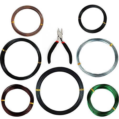 Anodized Aluminum Tree Training Wires, Bonsai Wire Cutter+1.0 mm(4 Pack, Each Size 32 ft/10 m),1.5 mm(2 Pack, Each Size 16 ft/5 m),2.0 mm(1 Pack, Each Size 16 ft/5 m) by kang ing