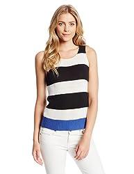 Sanctuary Clothing Women's Stripe Tanky Sweater, Black/White, Large