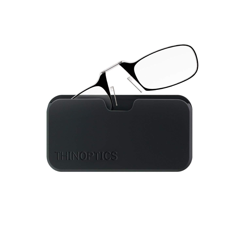 ThinOptics Reading Glasses + Black Universal Pod Case | Black Frame, 1.50 Strength Readers by ThinOptics