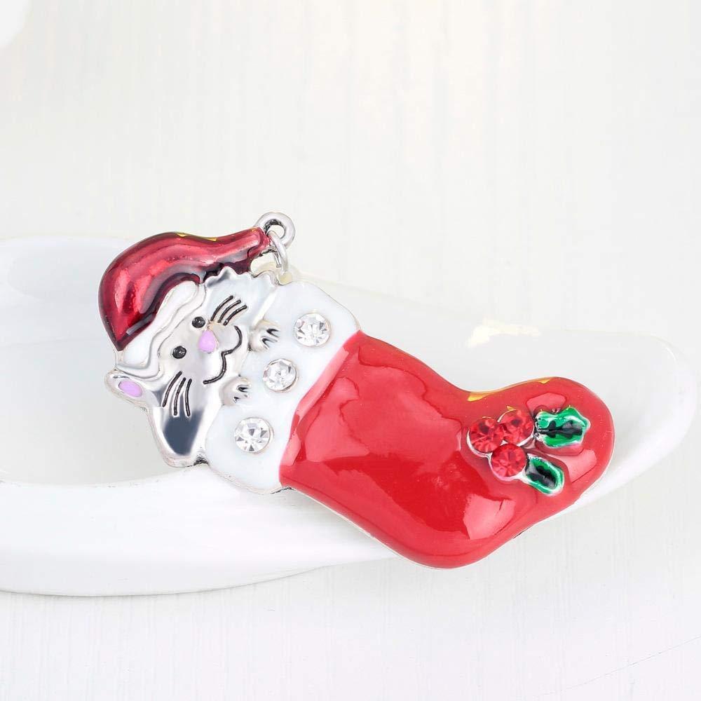 Fishroll Corpetto delle Donne Spille, bottoni e toppe Spilla Accessori Natalizi Serie Goccia Olio Carino Piccoli Animali Calze di Natale Spilla Set di 2 Pezzi