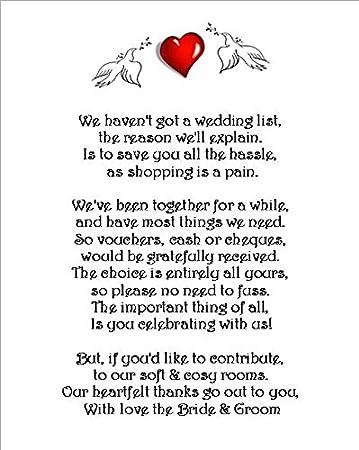 Wedding Money Gift Request Poem Cards For Wedding