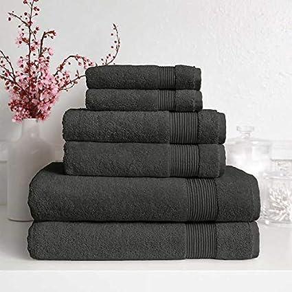 Signature Collection 600 gsm juego de toalla de baño, color gris oscuro