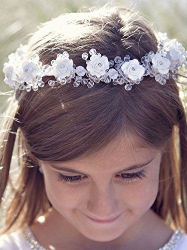 FXmimior Head Piece Flower Girl Wedding Crystal Rhinestones
