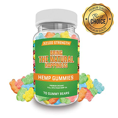 Ease Naturals 70ct Hemp Gummies - for Pain Relief and Anti-Anxiety Support :: All-Natural Ingredients :: Promotes Relaxation & General Good Health :: 30MG Per Gummy - Made in USA