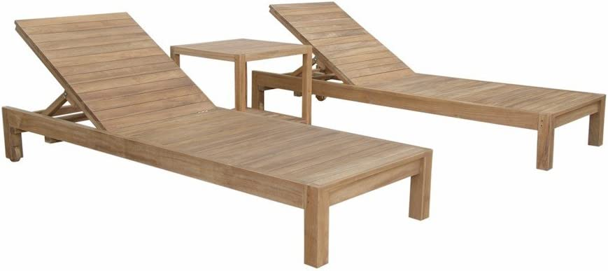 Amazon Com Anderson Teak Southbay Glenmore Sun Lounger Set With Side Table Dimone Sequoia Garden Outdoor