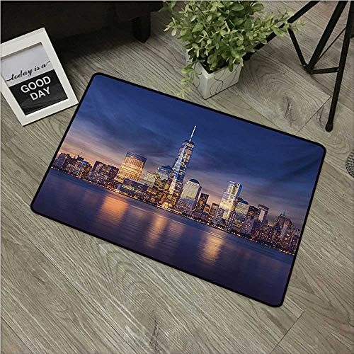 """HRoomDecor Cityscape,Decorative Floor Mat New York City Manhattan After Sunset View Picture with Skyline Reflection River W 24"""" x L 35"""" Front Door Rugs Multicolor"""