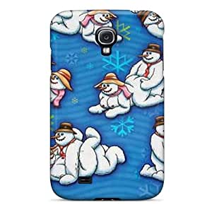 FyH4587ZrIe Tpu Phone Case With Fashionable Look For Galaxy S4 - Xmas Snowmen