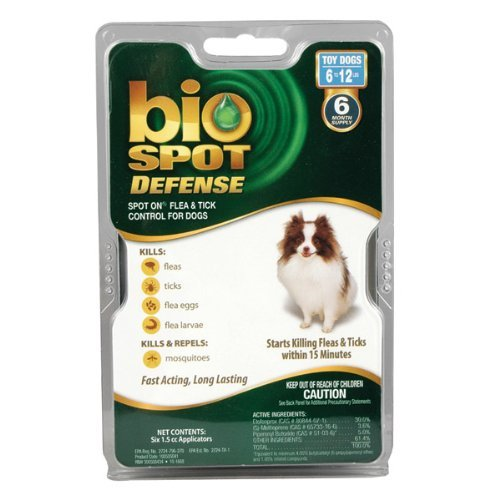 Bio Spot Defense Dog (Bio Spot Defense Spot on Flea and Tick Dogs 6-12-Pound, 6-Month)