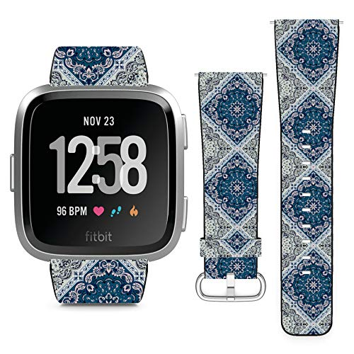 Compatible with Fitbit Versa // Leather Replacement Bracelet Strap Wristband with Quick Release Pins // Ornament Paisley Bandana ()