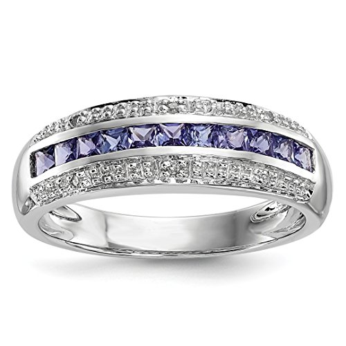 ICE CARATS 14kt White Gold Diamond Blue Tanzanite Band Ring Size 7.00 Gemstone Fine Jewelry Ideal Gifts For Women Gift Set From ()