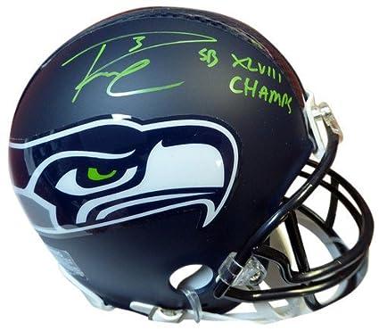 7717a72f4 Russell Wilson Signed Seattle Seahawks Replica Mini Helmet In Green SB  XLVIII Champs RW - Autographed