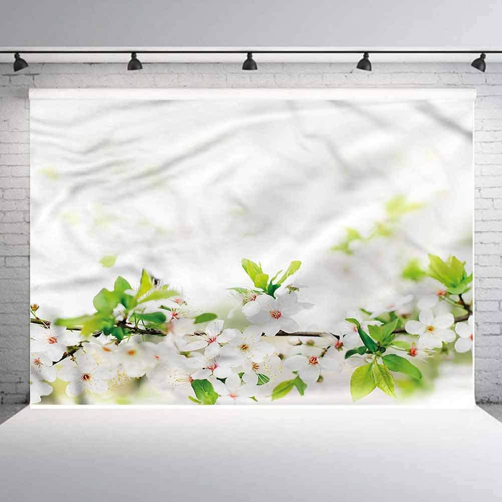 5x5FT Vinyl Photography Backdrop,Flower,White Spring Blossoms Photo Background for Photo Booth Studio Props