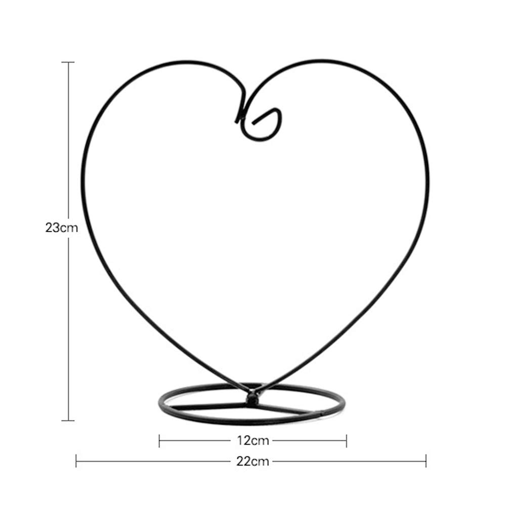 Black BKOOC Ornament Display Stand,Iron Hanging Heart Shaped Stand Rack Holder Iron Pothook Stand Hanging Glass Globe Air Plant Terrarium Witch Ball Home Wedding Decoration