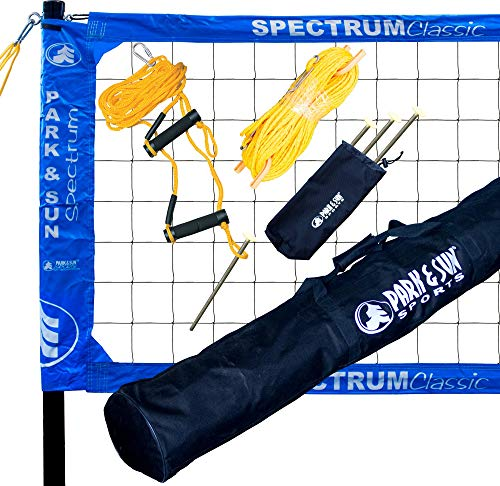 Park & Sun Sports Spectrum Classic: Portable Professional Outdoor Volleyball Net System, Blue (Renewed)