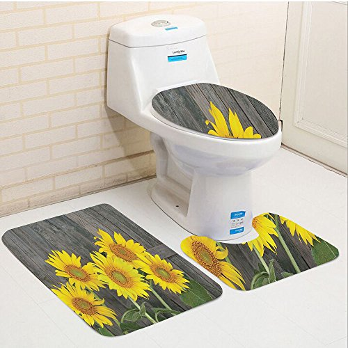 Keshia Dwete three-piece toilet seat pad customSunflower Helianthus Sunflowers Against Weathered Aged Fence Summer Garden Photo Print Brown Yellow Green