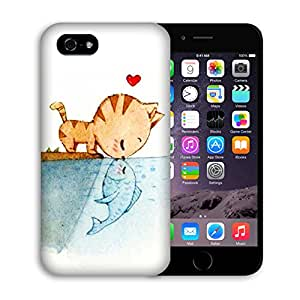 Iphone 6 Case, Casestars Little Cat Love Fish Kiss Protective 3D White Case Cover for Apple iPhone 6 4.7