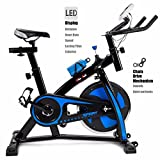 XtremepowerUS Stationary Exercise Bicycle Indoor Cycle Trainer Fitness Bikes Cycling Bottle Holder Heart Pulse (Blue and Black)