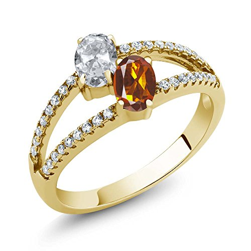 Madeira Citrine Two Stone 18K Yellow Gold Plated Silver Ring (Size 9) ()