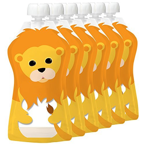 Squooshi Reusable Food Pouch   Large Lion 6 Pack   Refillable Squeeze Pouches For Kids Of All Ages