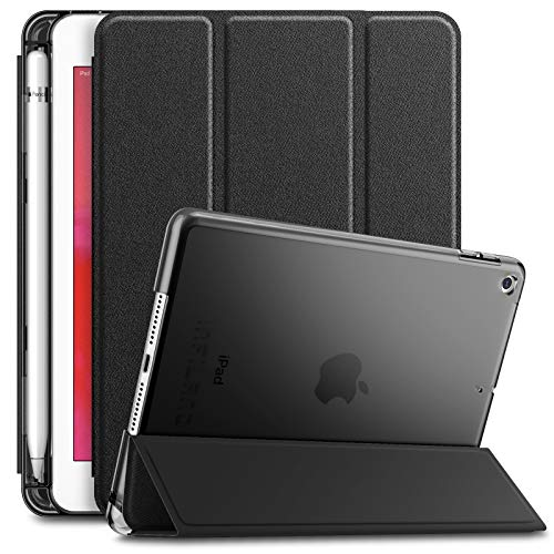 INFILAND iPad Mini 5 2019 Case with Apple Pencil Holder, Ultra Slim Lightweight Stand Case with Translucent Frosted Back Smart Cover for Apple iPad Mini 5th Gen 7.9-inch 2019 Release, Black