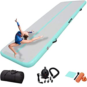 DAIRTRACK IBATMS Air Tumble Track Mat,10ft/13ft/16ft/40ft Inflatable Gymnastics Air Mat for Gymnastics Training/Home Use/Cheerleading/Yoga/Water with Electric Pump