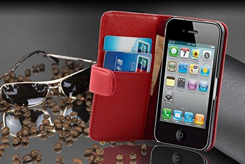 Cadorabo - Funda Apple iPhone 4 / 4S / 4G Book Style de Cuero Sintético Liso en Diseño Libro - Etui Case Cover Carcasa Caja Protección con Tarjetero en ROSA-ANTIGUO ROJO-DE-CHILE