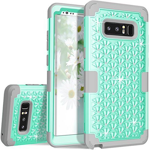 ZAOX Galaxy Note 8 Case - Cute Diamond Studded Bling Rhinestone - Hybrid Heavy Duty Dual Layer Armor Defender Protective Rubber Case with High Impact Shockproof Scratch Proof for Note - Samsung By Rug