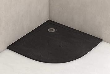 Plato ducha resina antideslizante textura pizarra Smooth Bricodomo 80x80 Semicircular Negro: Amazon.es: Bricolaje y herramientas