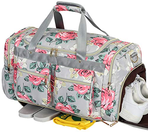 el Bag with Shoe Pocket Floral Weekender Duffle for Lady Girls Weekend Travel Tote Carry On Bag ()