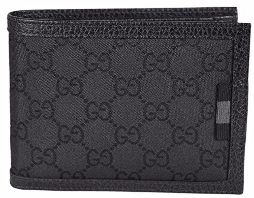 Gucci Web (Gucci Men's Smooth Canvas GG Web Tab Trifold Passcase ID Wallet (Black))