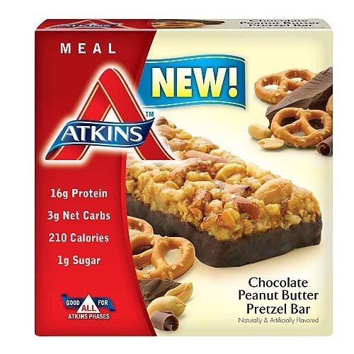 Barra de comida Atkins Chocolate, mantequilla de cacahuete, Pretzel, 8,5 Oz