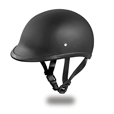 Daytona Helmets Hawk Polo Style Half Shell Helmet (Dull Black, Large) with Head Wrap and Draw String Bag: Automotive