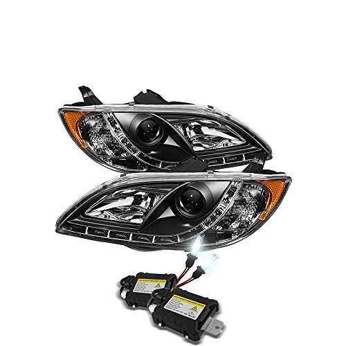 (Low Beam 6000k Slim Xenon HID Kit +Mazda 3 4Dr Sedan Projector Headlights Halogen Model Only (Not Compatible With Xenon/HID Model) (Do Not Fit Hatchback Model) DRL Black Housing With Clear Lens)