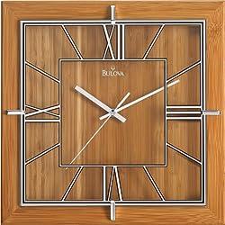 Bulova C4645 Studio Clock, Natural Lacquer Finish