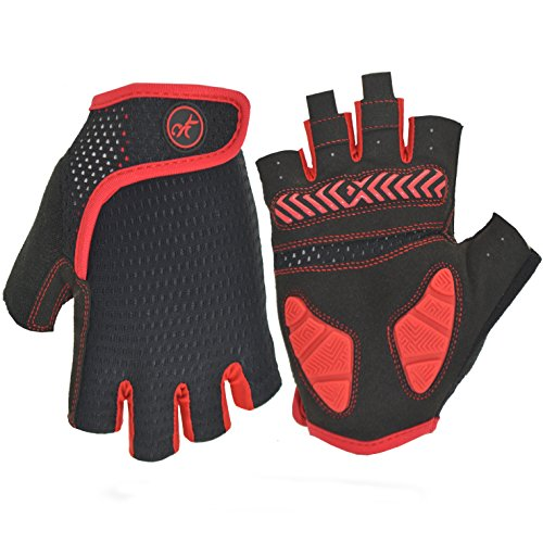MOREOK Shock-Absorbing Breathable Anti Slip Cycling Gloves Half Finger Outdoor Sport Bicycle Gloves Gel Padded Mountain Road Bike Riding Gloves for Men and Women (Red&Black, L)