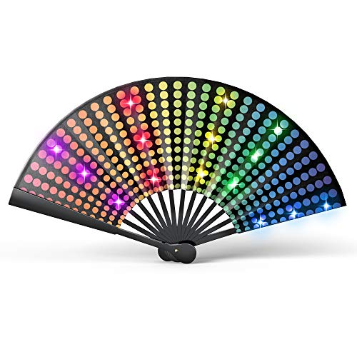 MADE TRADING COMPANY Real Light-Up Rave Fan - Festival Fan & Clack Fan for Parades - Large Hand Fan Rave for Men or Women - Pride Fan - Large Folding Fan with Loud Clack - Japanese Big Hand Fan