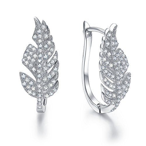 Sterling Silver Gold Feather (LicLiz Sterling Silver Cubic Zirconia CZ Leaf Design Hoop Earrings for Women)
