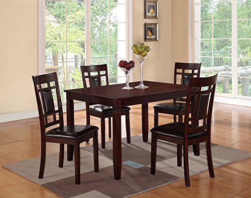 Poundex 5 Piece Rectangular Dining Set with Faux Leather Sea