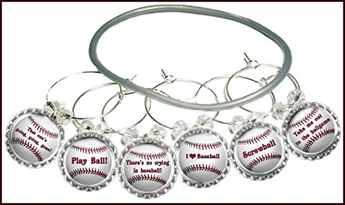 Baseball Wine Charms - Glass Tag Identifiers, Baseball Gifts For Dad, Glass Markers, Softball Gifts, 6 wine charms
