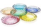 7 3/4' Premium Salad or Bread Plates - Set of 6 - Unbreakable Tritan Plastic - BPA Free - 100% Made in Japan (Assorted Colors)