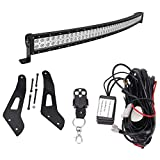 can am maverick max roof - 50 inch 288W Curved Combo LED Light Bar w/wiring kit & Upper Roof Mounting Brackets Fits Can-am Maverick X3 Max