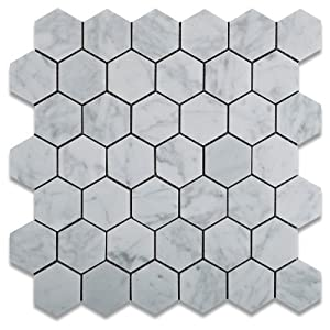 "best Carrara White (Bianco Carrera) 2"" Hexagon Mosaic Tile Honed"
