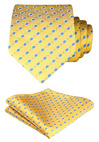 Tie Squares (HISDERN Dot Floral Wedding Tie Handkerchief Woven Classic Men's Necktie & Pocket Square Set Yellow & Blue)