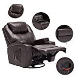 windaze Massage Recliner Chair, 360 Degree Swivel Heated Recliner Bonded Leather Sofa Chair with 8 Vibration Motors,Brown … Review