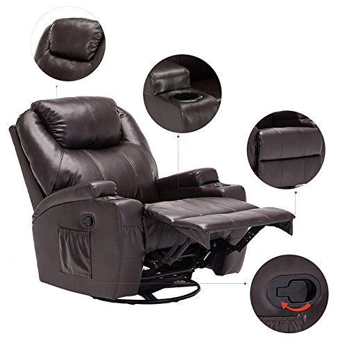 Massage Recliner Chair, 360 Degree Swivel and Heated Recliner Bonded Leather Sofa Chair with 8 Vibration Motors, Brown (Recliners That Swivel)